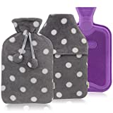 HomeTop Premium Classic Rubber Hot or Cold Water Bottle with Soft Fleece Cover (2 Liters, Purple / Gray Polka Dot Envelope Cover + Regular Cover)