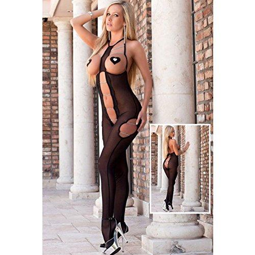 VU*LK Tulle senza maniche donna blocco collo maglia pigiama un pezzo trasparente vuoto , black ,