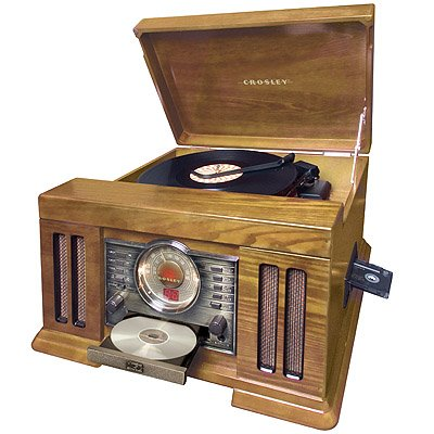 "Mission Stack-O-Matic Record Radio and CD player - classic look and feel (Oak) (10""H x 19""W x 17""D)"