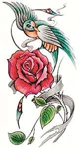 design Beautiful red rose and birds fake temp tatoo sticker : Beauty