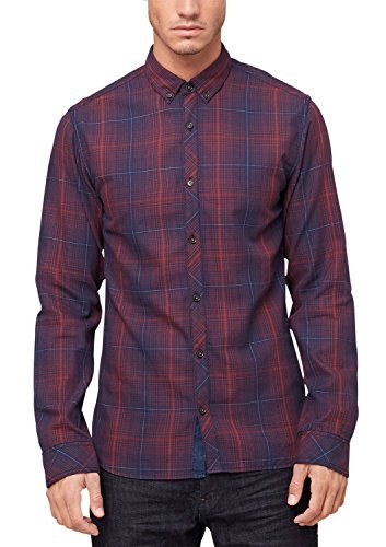 s.Oliver Denim - 40.508.21.7100, Camicia da uomo, blu (laundered blue check 56n0), L