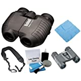 Bushnell 1751030 5-10x 25mm Spectator Dual Power & 8x21mm Powerview Binoculars with Accessory Bundle