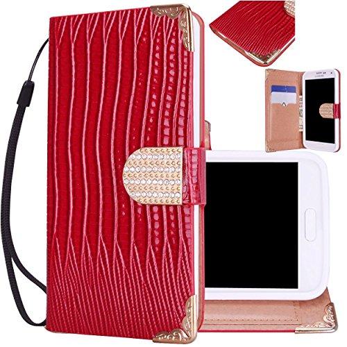 Majesticase® Samsung Galaxy S5 i9600 Wallet Case - Deluxe Bling Fancy Wristlet Wallet Purse Clutch Croc Pattern Cover + FREE Stylus in Red