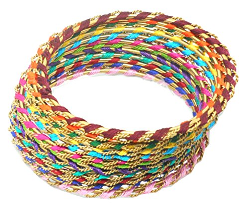 Youbella Multicolor Gold Plated Thread Work Bangle Set For Women - 12 Pcs (2.6)