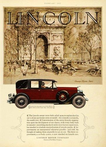 1927 Ad Lincoln Motor Car Champs Elysees Paris France Arc de Triomphe Ford Body - Original Print Ad