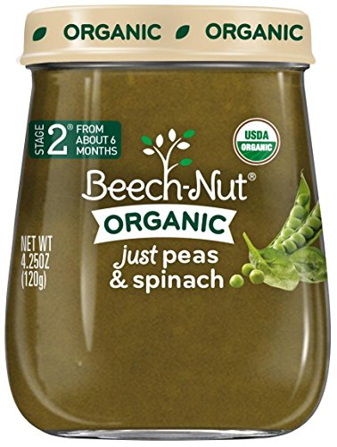 Beech-Nut Just Organic Stage 2 Purees - Just Peas & Spinach - 4.25 Oz - 10 pk - 1