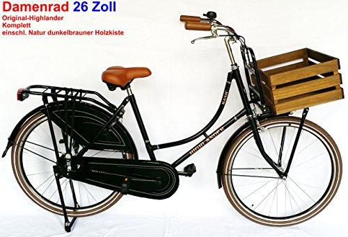 Damen Hollandrad Highlander 26 Zoll schwarz komplett mit Holzkiste