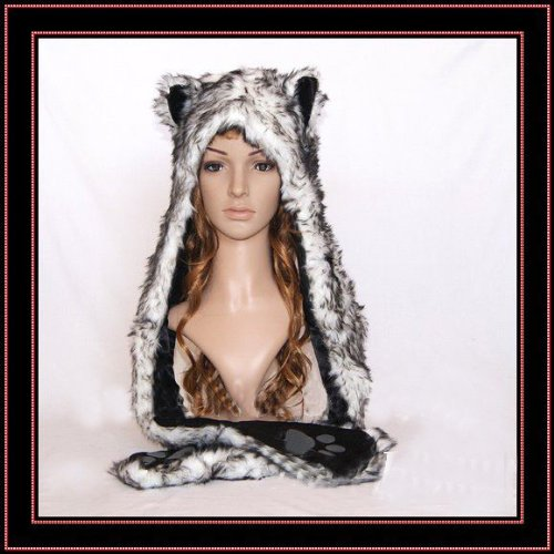 Black Cat Full Animal Hood Hoodie Hat Faux Fur 3 in 1 Function Paw