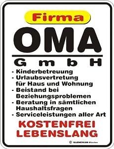 Rahmenlos Oma GmbH Plaque en tôle avec inscription en allemand 17 x 22 cm