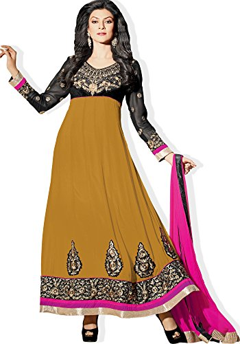 Atisundar Atisundar Pretty Blended Georgette Embroidered Anarkali In Mustard And Black- 4425_32_11009 (Multicolor)