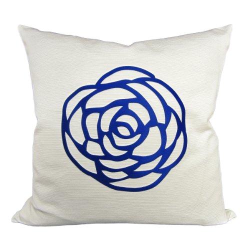 Wildflower Linen Rosa Ottoman Pillow, 18-Inch, White/Velvet Royal Blue