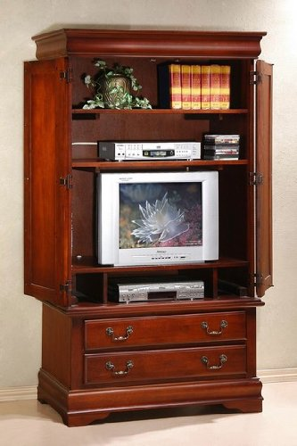 Buy low price beautiful cherry finish solid wood tv