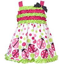 Rare Editions Baby-girls Infant Printed Ladybug Dress With Ruffles, Fuschia/Lime/White, 6 Months