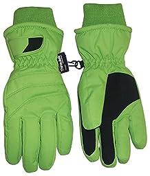 N\'Ice Caps Kids Bulky Thinsulate and Waterproof Ski Glove With Ridges (5-6yrs, Neon Green)