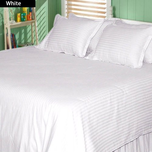 600 Tc 4 Pc King Size Attached Waterbed Sheet Stripe White By Jay'S Home Goods front-357454