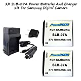Excelshots 2 Pack Power Battery With Charger For Samsung SLB-07A and Samsung ST45, ST50, ST500, ST550, ST560, ST600, EC-ST600ZBPVUS, EC-ST600ZBPBUS, TL90, TL100, TL210, EC-TL210ZBPUUS, EC-TL210ZBPRUS, EC-TL210ZBPEUS, EC-TL210ZBPPUS, EC-TL210ZBPVUS, TL220, EC-TL220ZBPRUS, EC-TL220ZBPUUS, TL225, EC-TL225ZBPLUS Digital Cameras.