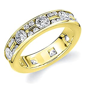 14K Yellow Gold Diamond Alternating Eternity Ring (1.5 cttw, H-I Color, I1-I2 Clarity) Size 9.5