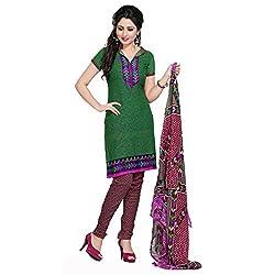 Triveni Women's Crape Salwar Kameez Dress Material (TSTZSK337_Green)