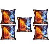 "Belkado Street Cushion Cover Throw Pillow ( Multi Color, 12""x12"" )"