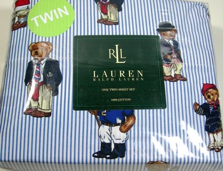 Lauren Ralph Lauren Teddy Bear Stripe 100% Cotton Twin Sheet Set (1 Flat  Sheet, 1 Fitted Sheet U0026 1 Pillowcase) Review