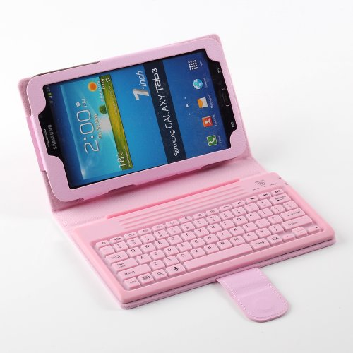 "Newstyle Pink Wireless Bluetooth Silicone Keyboard Pu Leather Stand Case For Samsung Galaxy Tab 3 7.0 Inch 7"" T210 T211 P3200 P3210 Tablet front-215417"