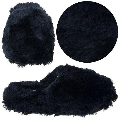 Cheap Simple Pleasures Black Fuzzy Slip On Slippers for Women (B005NKKLF6)