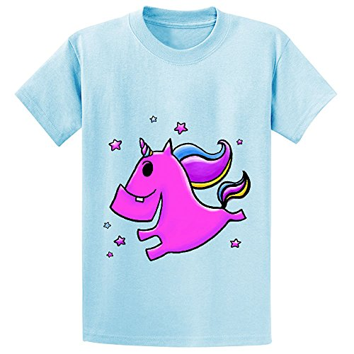 Fab Yoo Lous Unicorn Child Crew Neck Short Sleeve T Shirt L-blue