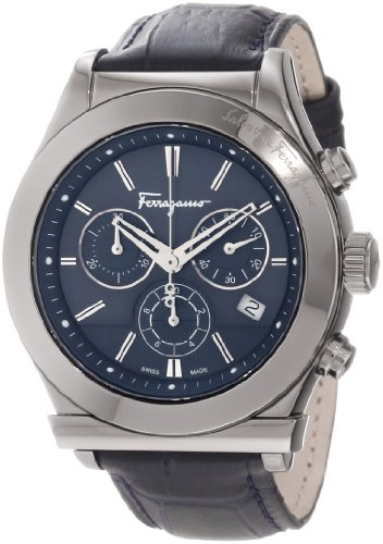 Ferragamo Men's F78LCQ6904 SB04 Ferragamo 1898 Grey Ion-Plated Case Blue Dial Leather Chronograph Watch