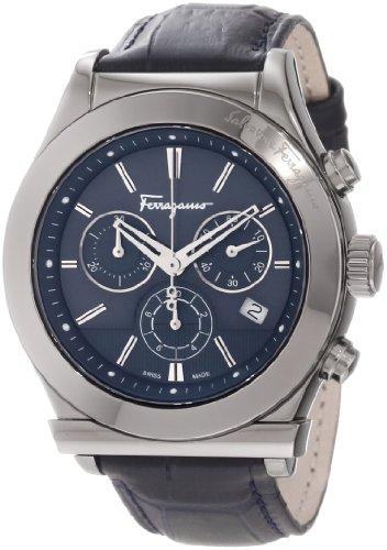 Ferragamo Men's F78LCQ6904 SB04 Ferragamo 1898 Grey Ion-Plated Case Blue Dial Leather Chronograph Watch
