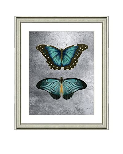 Art Source Butterfly with Real Silver Leaf Background I, Multi, 31 x 25