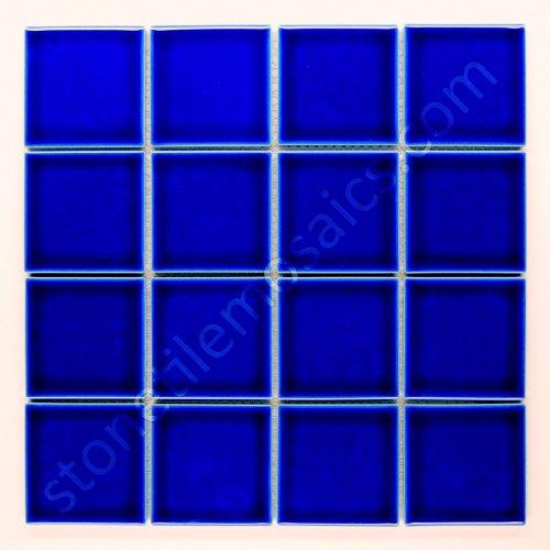 Square Tile Cobalt Blue Porcelain Mosaic Shiny Look 3x3 Inch