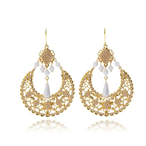 Tagoo Women's Gold Alloy and White Resin Combination Luxurious Pendant Earring (White Resin Earrings compare prices)