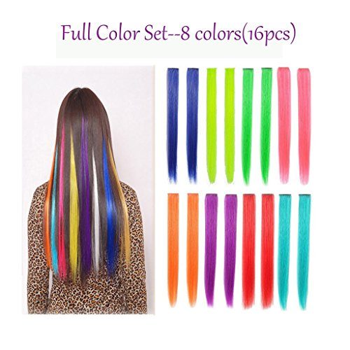 16PCS Colored Hairpieces 22Inch (55CM) Straight Clip in Hair Extensions Fashion Hairpieces Party Highlight Multiple Colors (16pcs Full Color Set) (Highlight Extensions Clip compare prices)