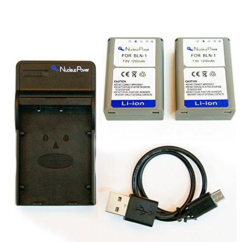 6ヶ月保証  オリンパス BLN-1 + USB充電器のセット 互換バッテリー OLYMPUS OM-D E-M1/OM-D E-M5/PEN E-P5...Nucleus Power製 (バッテリー2個 + USB充電器)