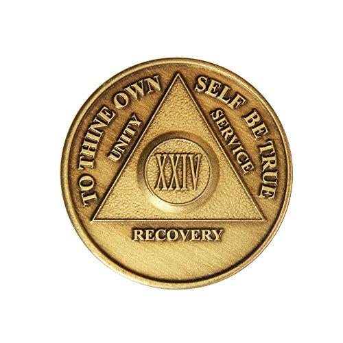 24 Year Bronze AA (Alcoholics Anonymous) - Sober / Sobriety / Birthday / Anniversary / Recovery / Medallion / Coin / Chip by Generic