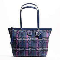 Hot Sale Coach Signature Stripe Tartan Tote Handbag F20040