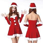 【ノーブランド品】レディース クリスマス 衣装 セクシー タイト ワンピース サンタ 衣装 レッド 帽子付き ハロウィン