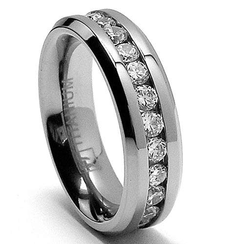 cheap 6mm eternity titanium ring wedding band with