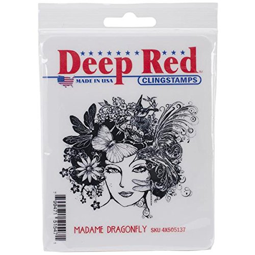 Deep Red Stamps Madame Dragonfly Rubber Stamp