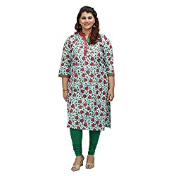 Damyantii Cyan Plus Size Cotton XXL Kurta