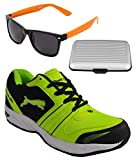 Spot On Men's Black Green Running Shoes With Lotto Sunglasses And Cardholder Combo UK-8