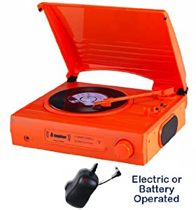 Review and Buying Guide of Buying Guide of 1980s Style Record Player Turntable - Mains Electric Or Battery - Built In Amp & Speakers - Portable / Carry Handle - Nostalgic Retro Design (mains Adapter Included) (neon Orange)