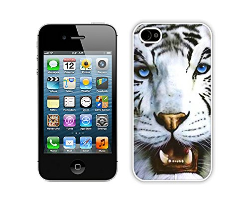 Zhuxiuhu White Tiger and Blue Eyes iPhone 4 4S Case White Cover Good Review cell phone cases