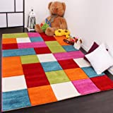Kinder Teppich Karo Design Multicolour Grün Rot Grau Schwarz Creme Pink, Grösse:120x170 cm