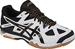 ASICS Men\'s Gel-Tactic Volleyball Shoe, White/Black/Pale Gold, 14 M US