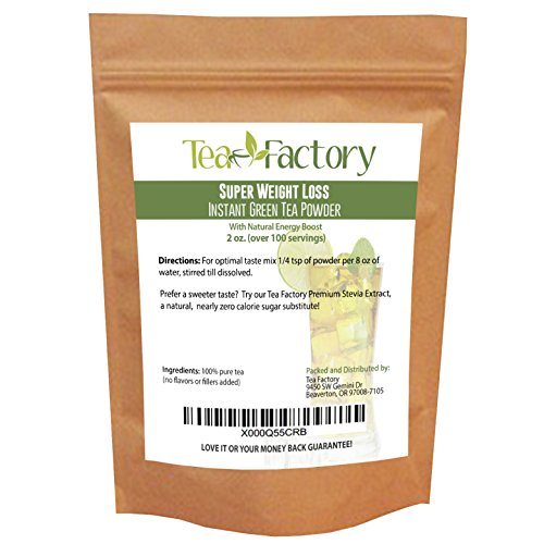 Instant Green Tea Powder - 100% Pure Tea - No Fillers, Additives or Artificial Ingredients of Any Kind