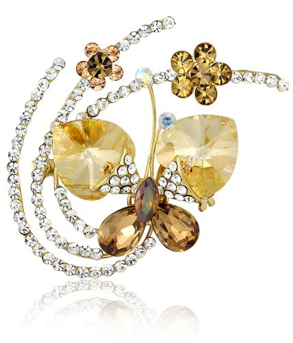 Fluid Butterfly Swarovski Elements Crystal Brooch