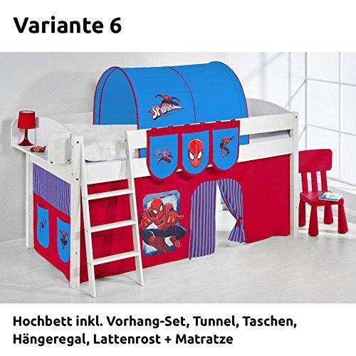 Hochbett Spielbett IDA Spiderman, mit Vorhang, weiß, Variante 6 jetzt bestellen