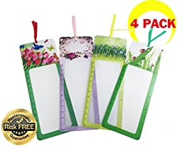 Premium 4-Pack Flower Series Bookmark Magnifiers with Built in Ruler 3X Magnification- Ideal for Reading & Low Vision Aids