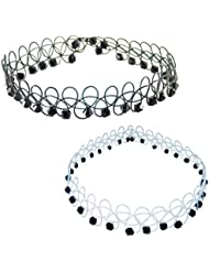 Black Beads Transparent Necklace Choker Combo For Girls – Black Beads Black Lace Choker Tattoo + Black Beads White...